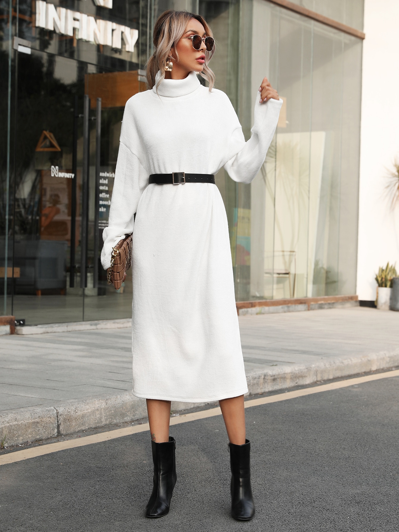 Funnel Neck Drop Shoulder Dress Without Belt thumbnail