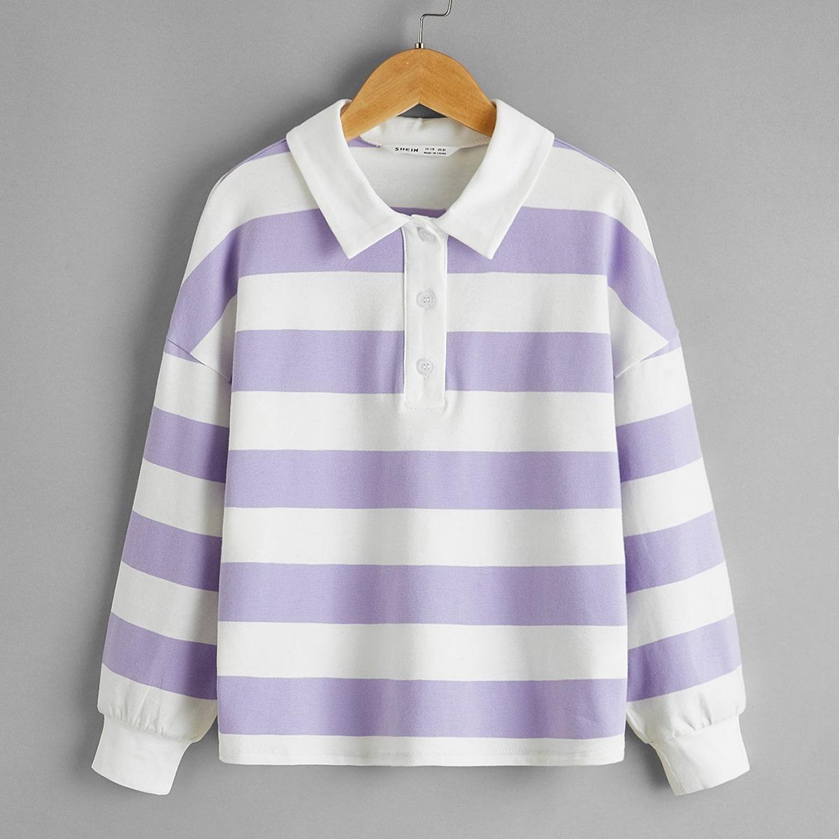 Пуговица контрастный цвет повседневный футболки для девочек