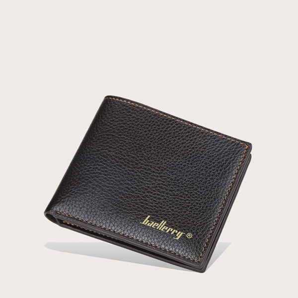 Men Letter Graphic Fold Over Wallet, Coffee brown