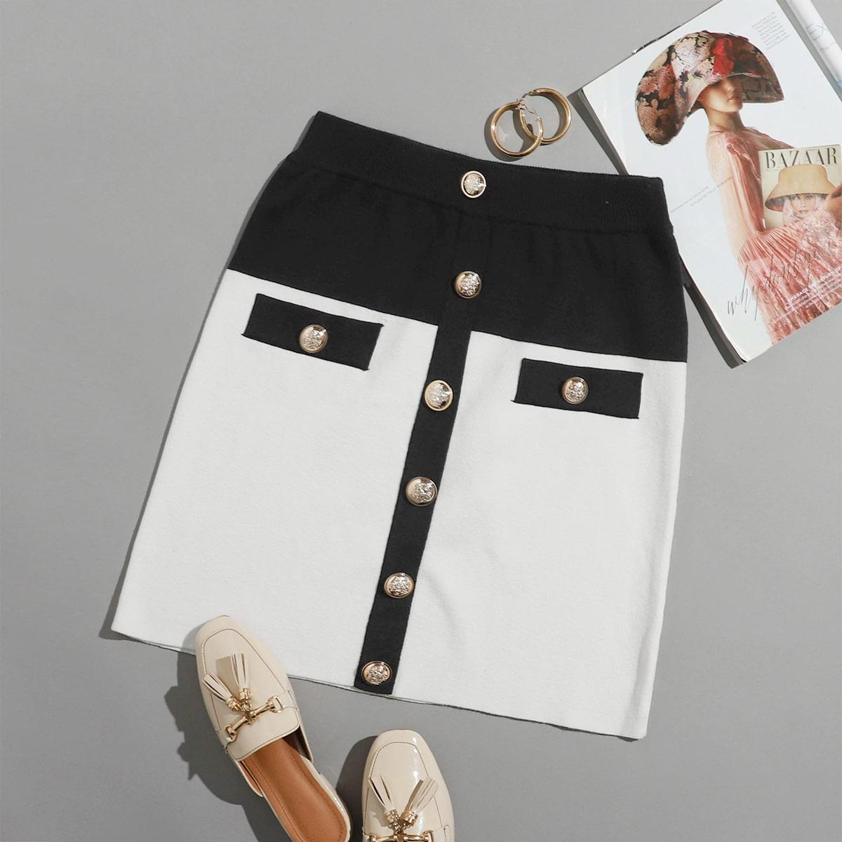 Пуговица контрастный цвет элегантный трикотажные юбки размер плюс