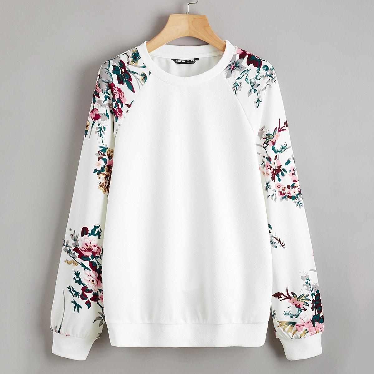 Пуловер с цветочным принтом