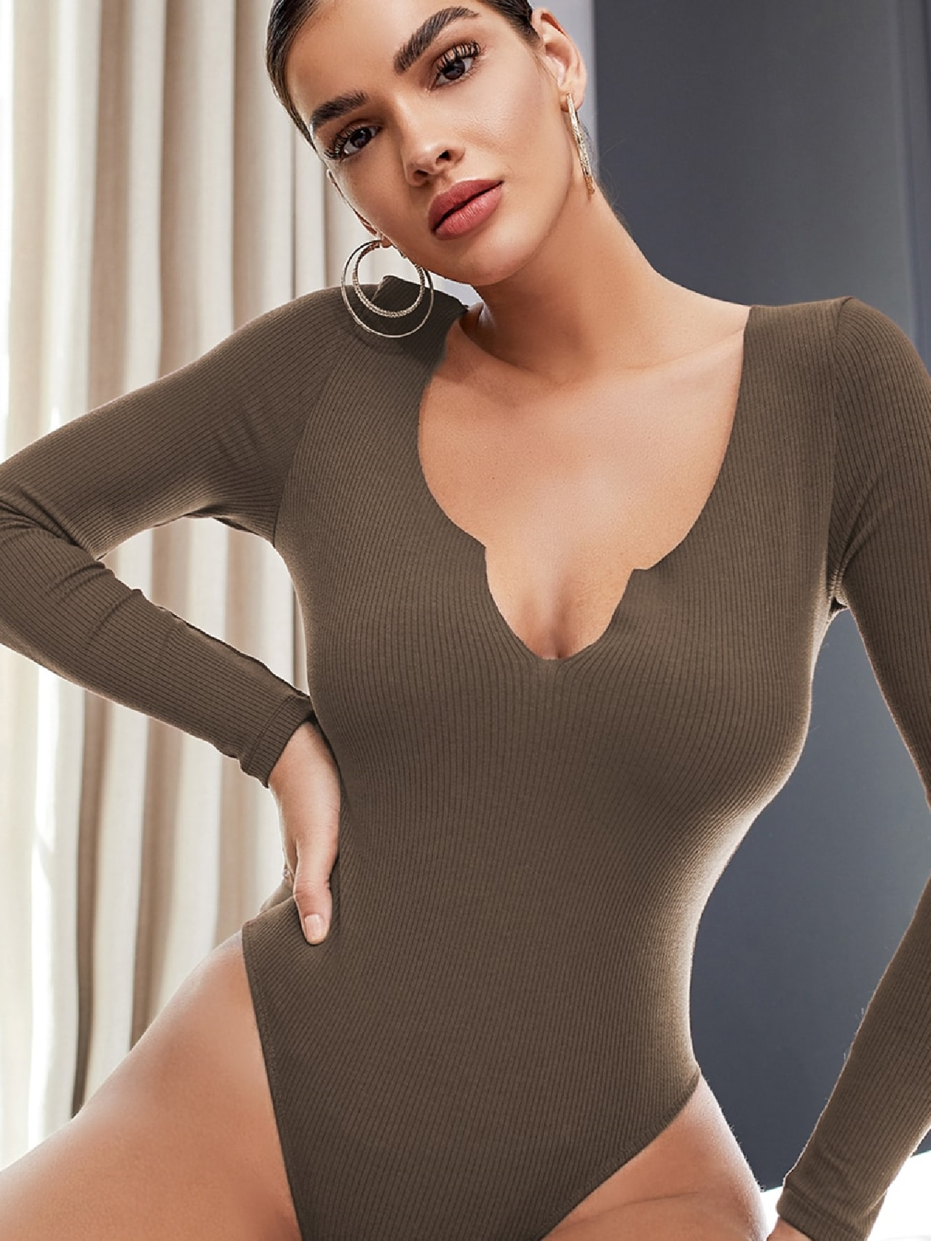 Notched Neck Rib-knit Bodysuit thumbnail