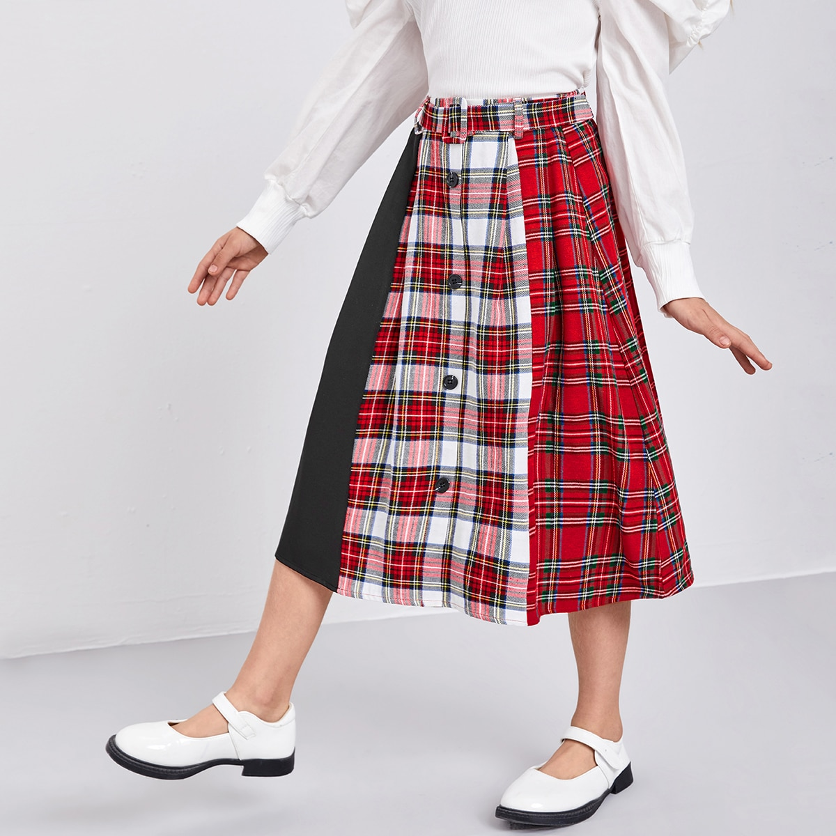 С поясом в клетку институтский юбки для девочек
