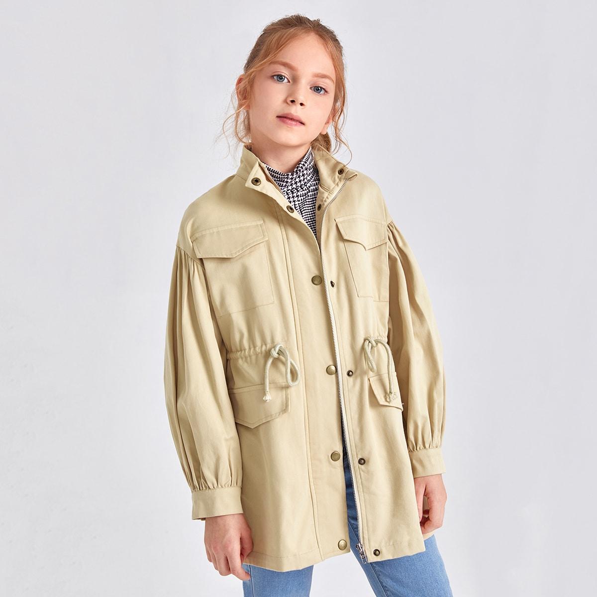 Mantel mit Taschen Klappe voroen und Schnürung-Taille