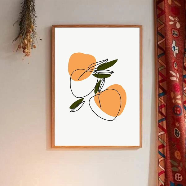 Peach Print Wall Painting Without Frame, Multicolor