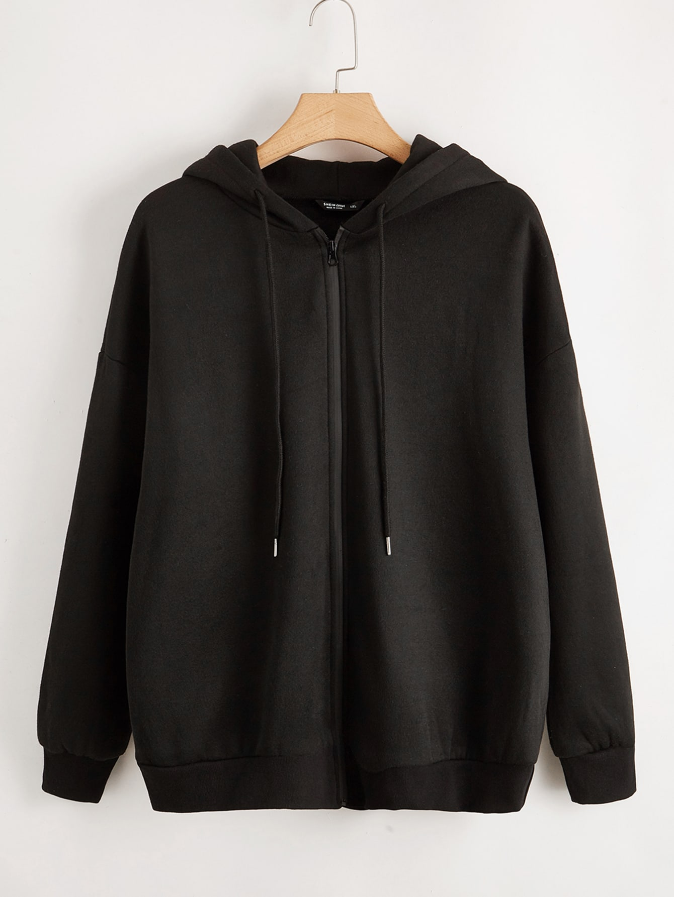 Plus Solid Zip Up Drawstring Hooded Sweatshirt thumbnail