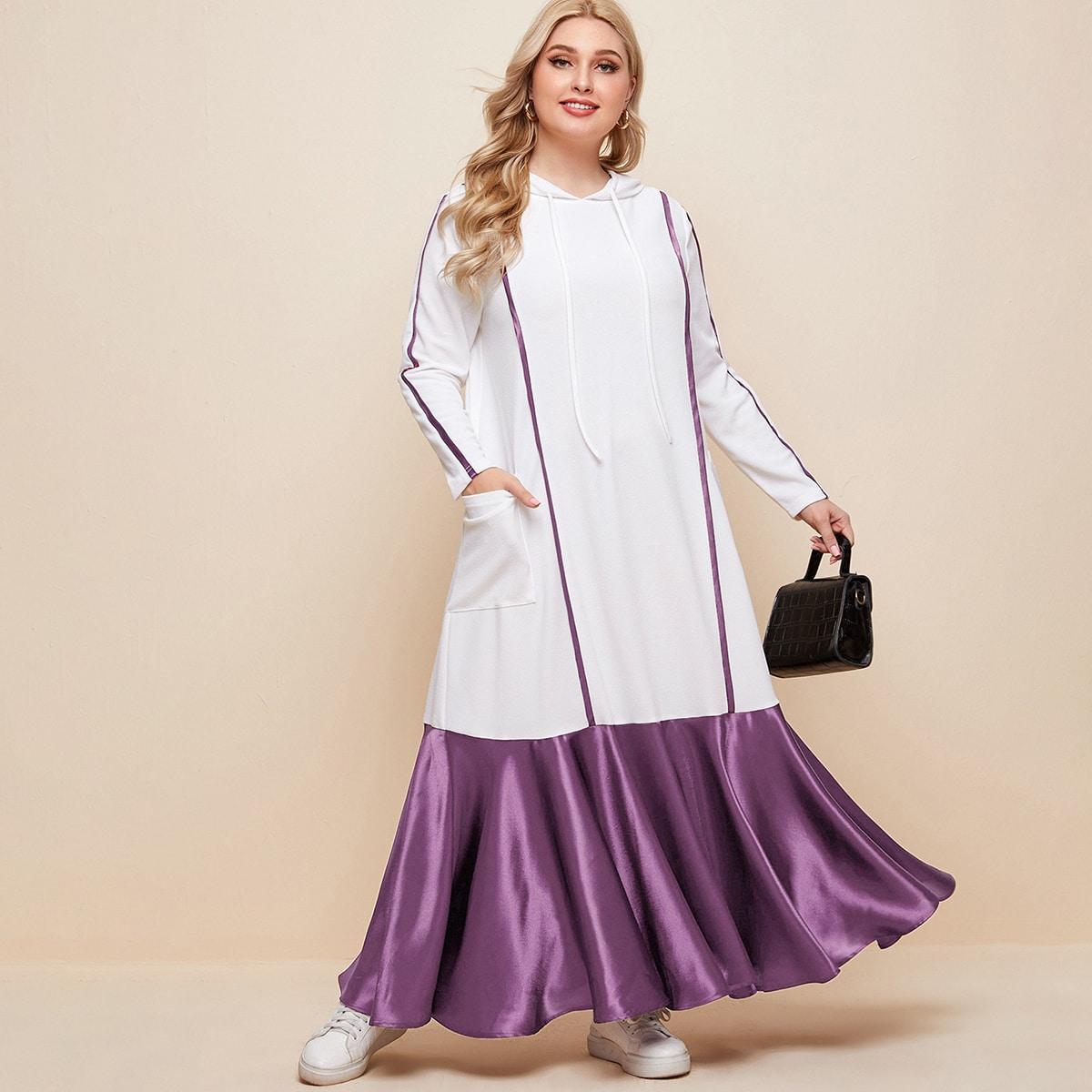 Карман Контрастный цвет Повседневный Платья размер плюс