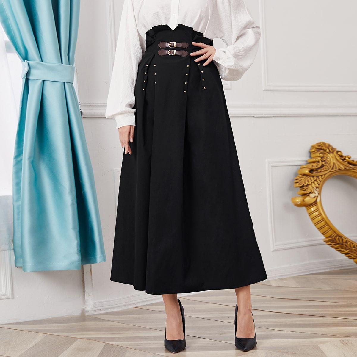 Асимметричная юбка с пряжкой и бисерами