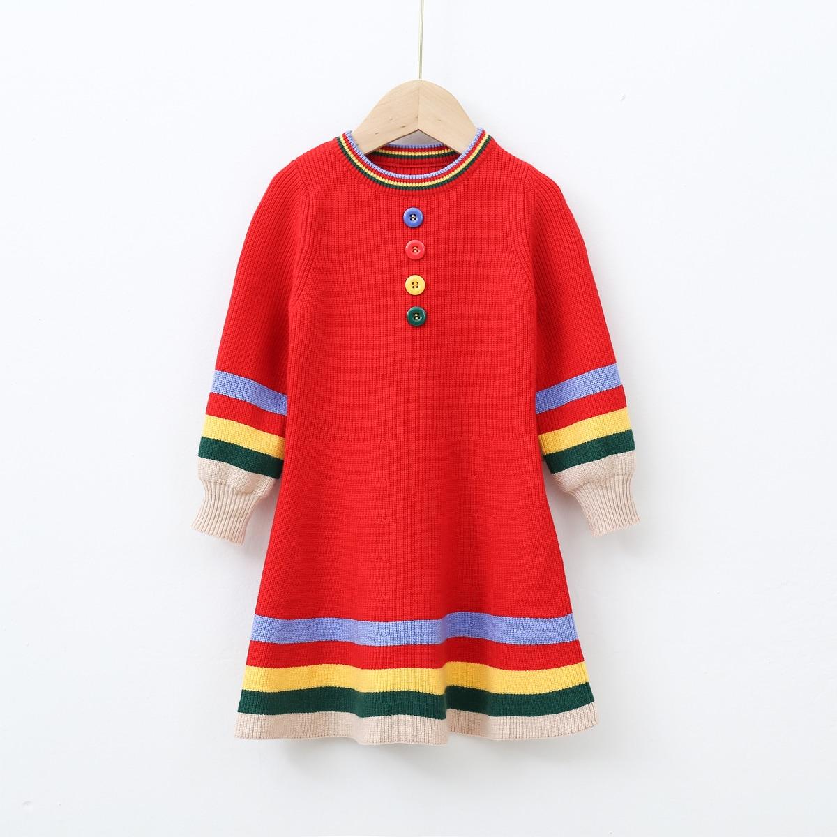 Полосатый повседневный трикотажные платья для девочек