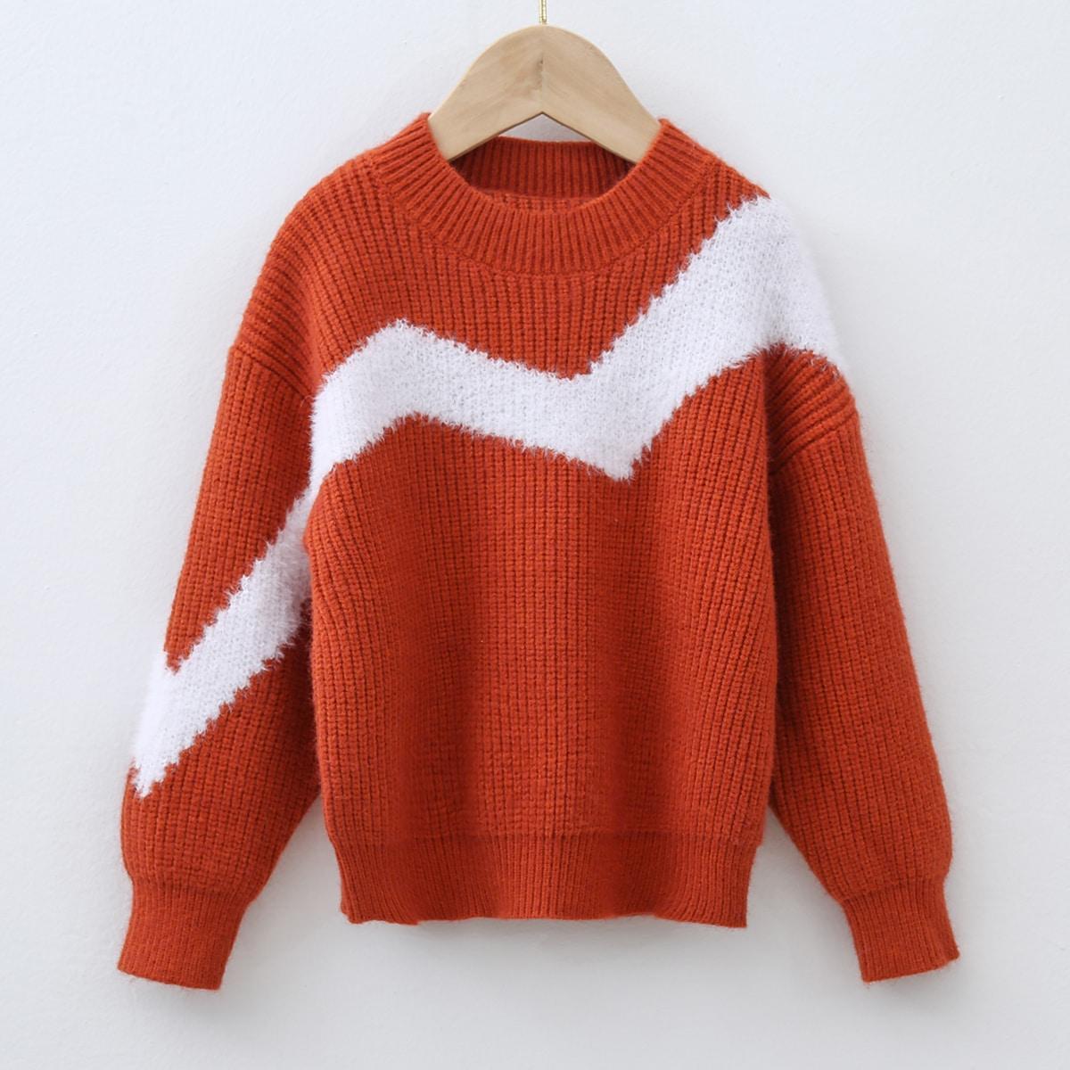Шеврон повседневный свитеры для девочек