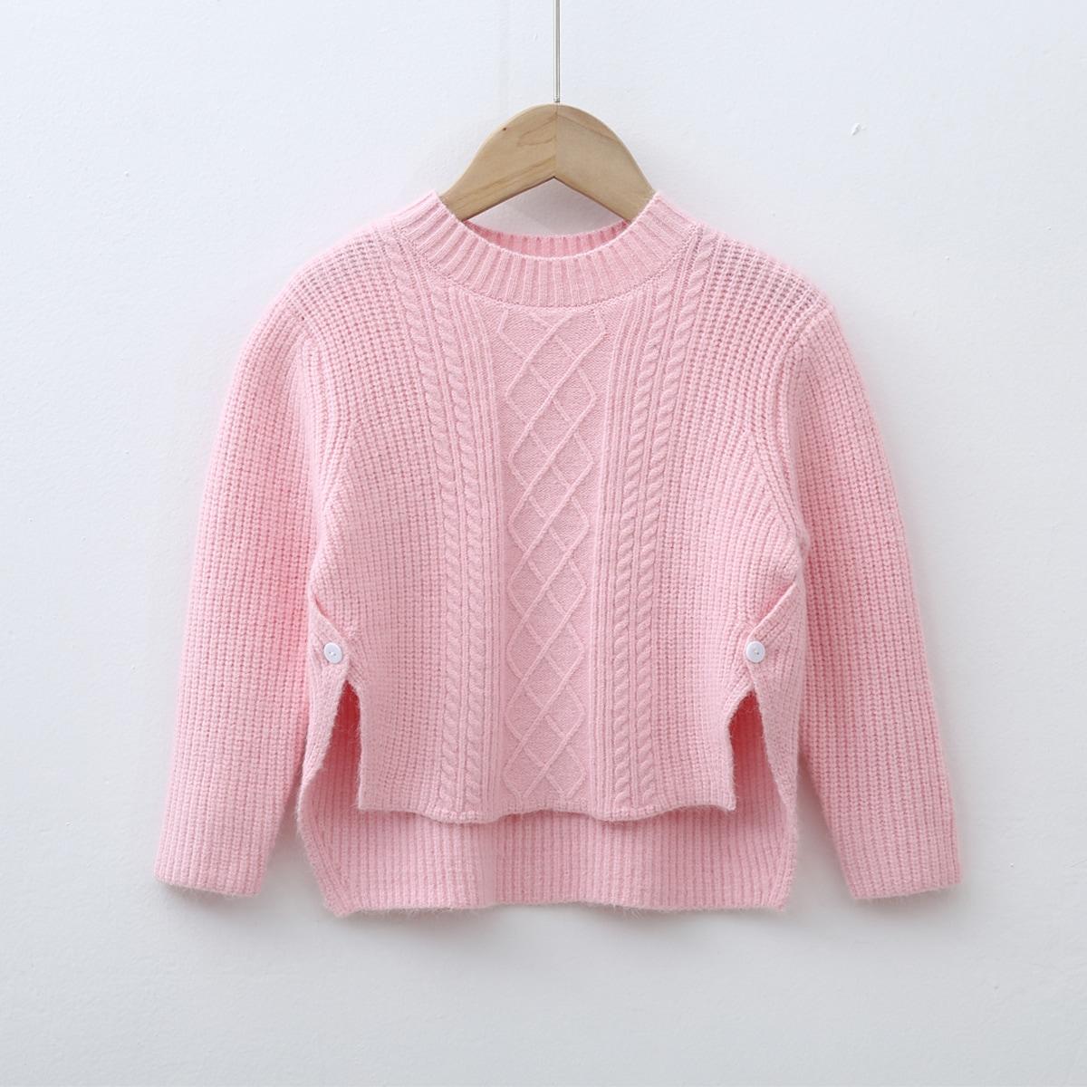 Асимметричный одноцветный повседневный свитеры для девочек
