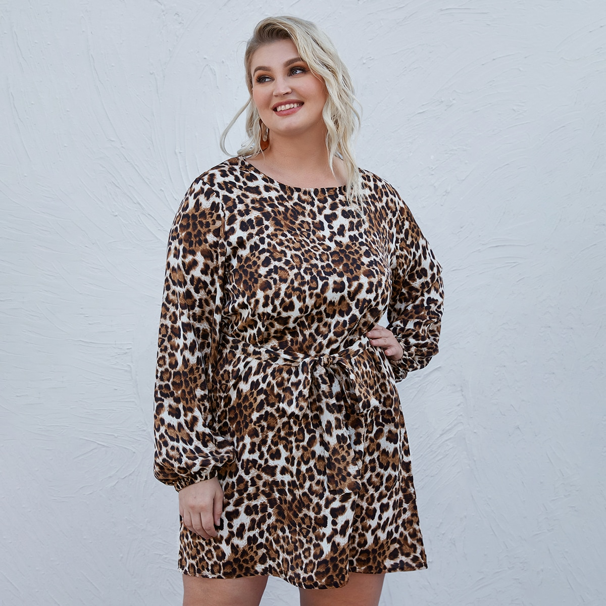с поясом Леопардовый Элегантный Платья размер плюс