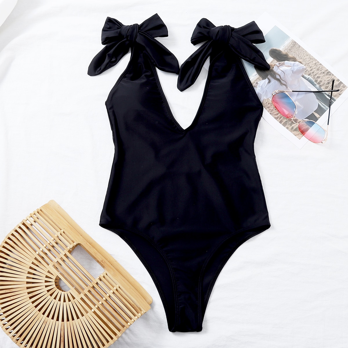 Tie Shoulder One Piece Swimsuit