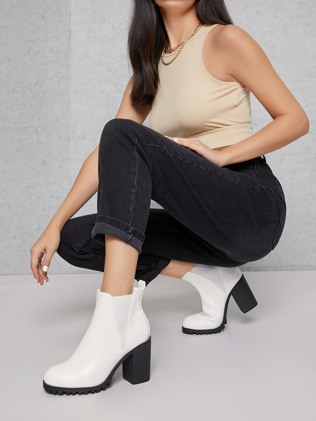 Fake Leather High Heeled Ankle Chelsea Boots