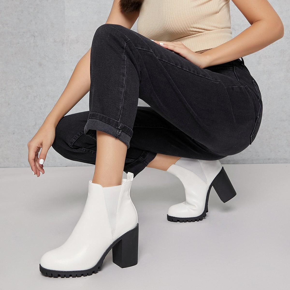 Сапоги челси на высоком каблуке из искусственной кожи