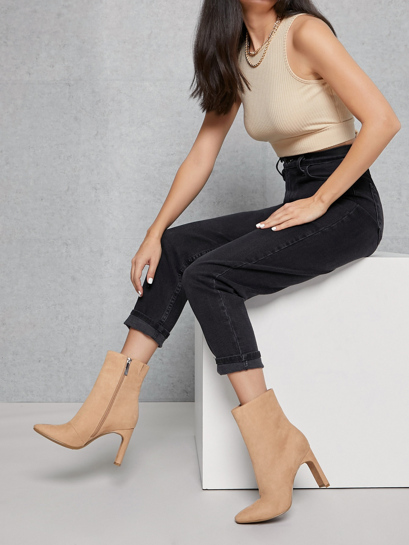 Vegan Suede Zippered Pointed Toe Boots