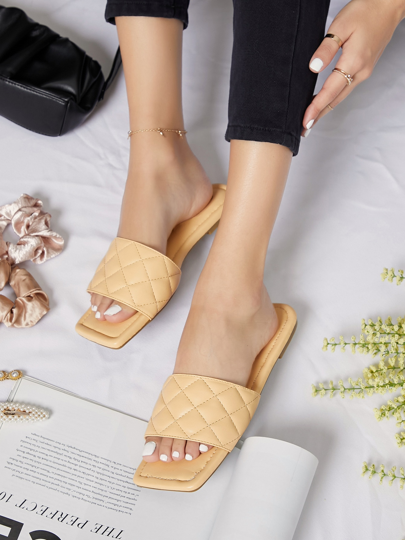 Quilted Vegan Leather Open-Toe Slipper Sandals thumbnail