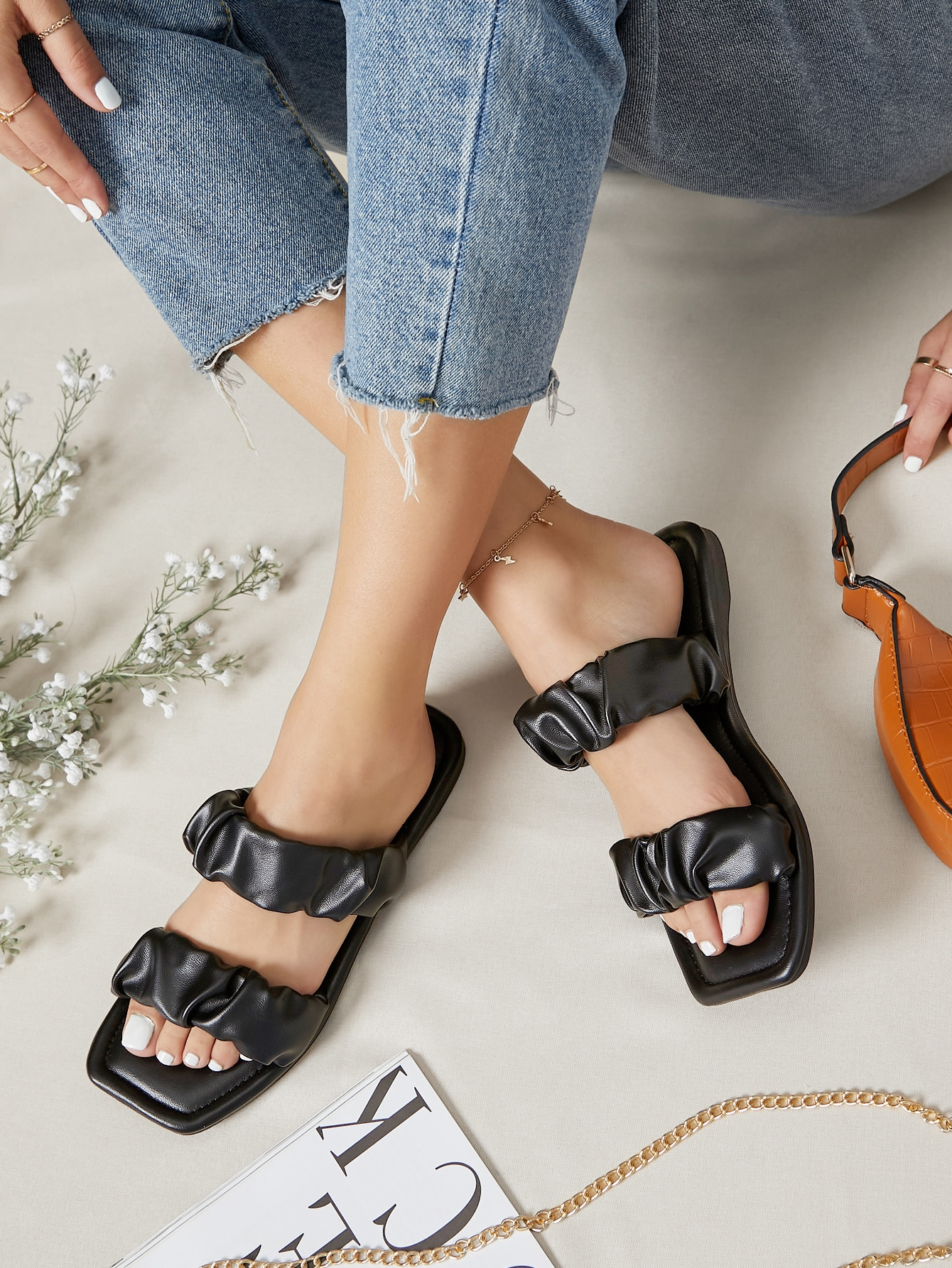 Vegan Leather Double Padded Strap Sandals thumbnail