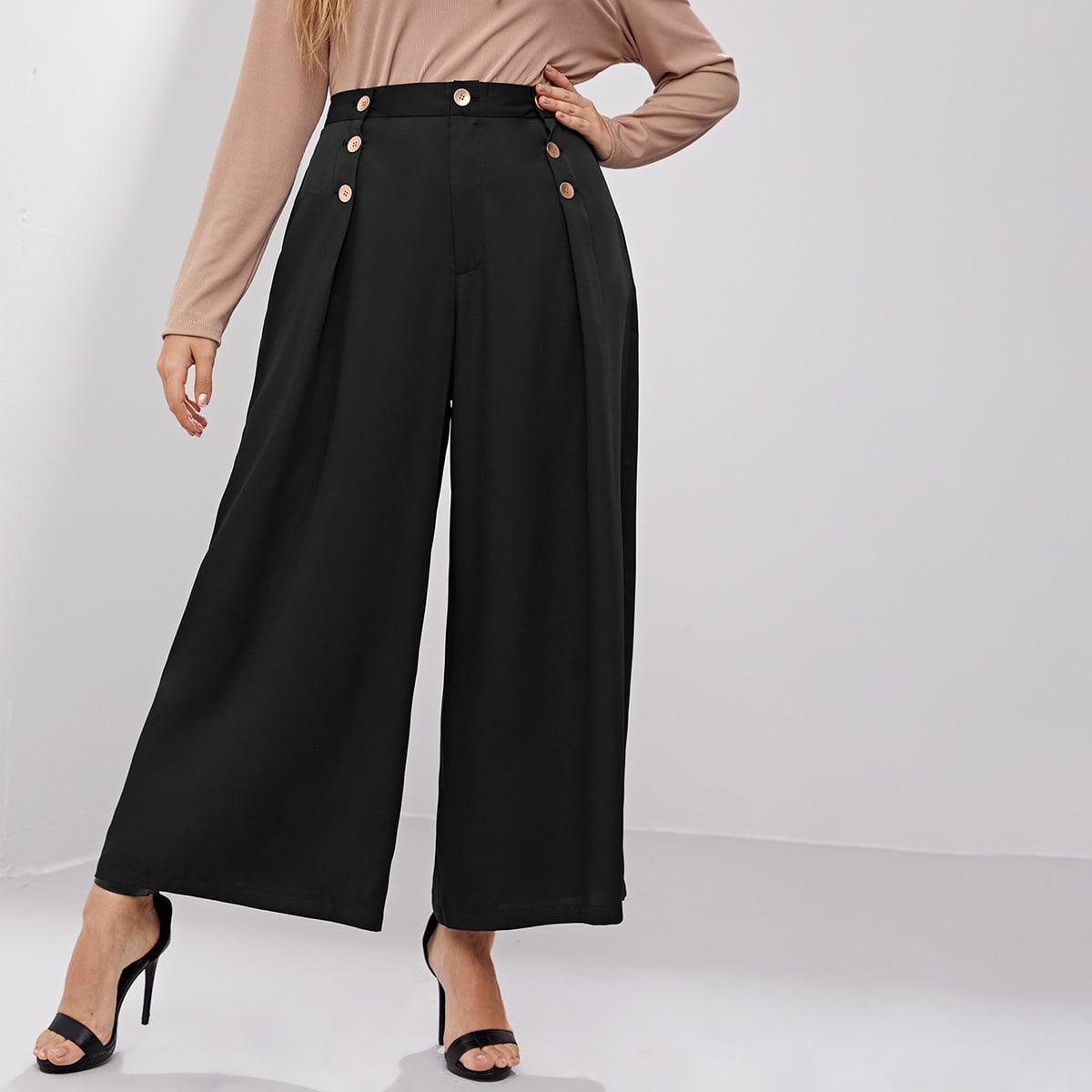 Пуговица одноцветный элегантный брюки размер плюс