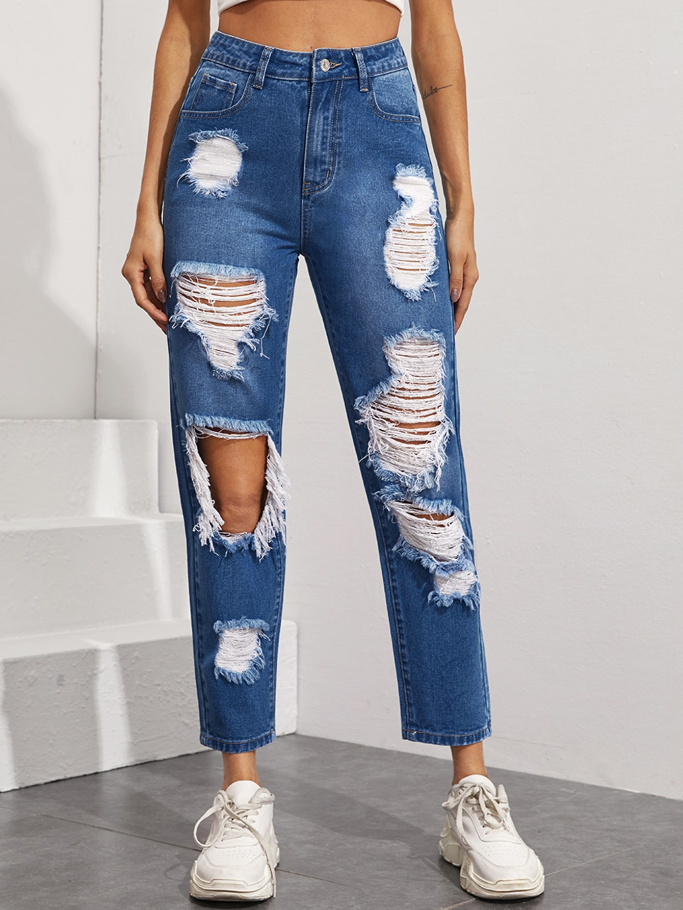 High Waisted Ripped Straight Leg Jeans thumbnail