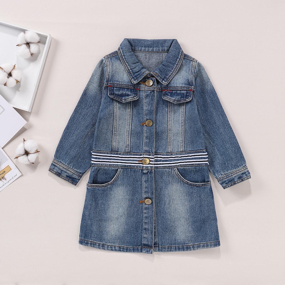 Джинсовое пальто в полоску с нашивкой в виде букв для маленьких девочек