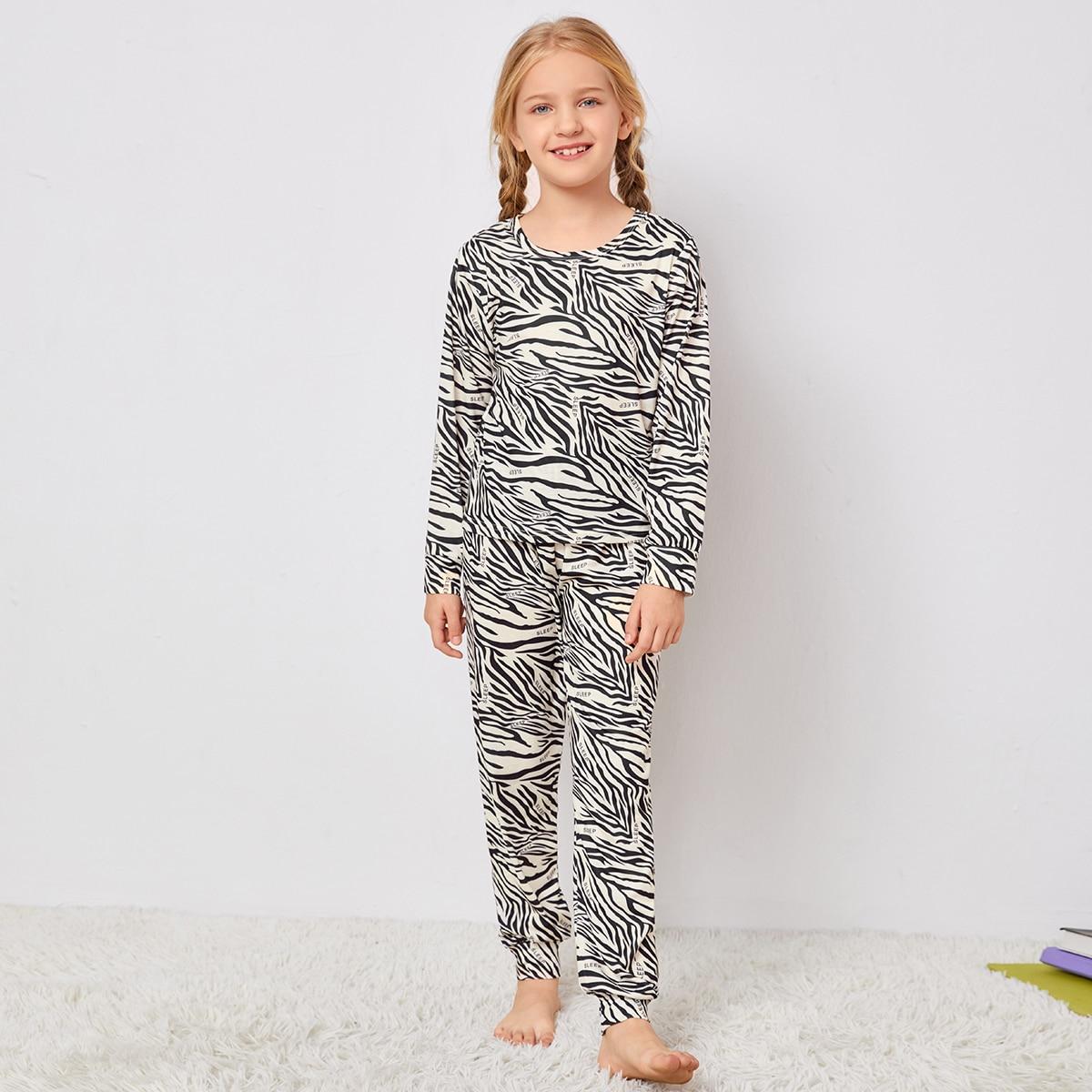 Girls Zebra Stripe And Letter Graphic PJ Set