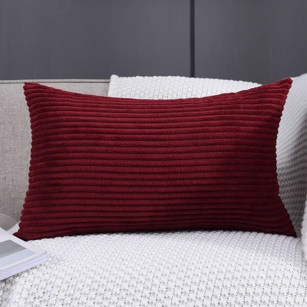 Plain Lumbar Pillow Cover Without Filler, Burgundy