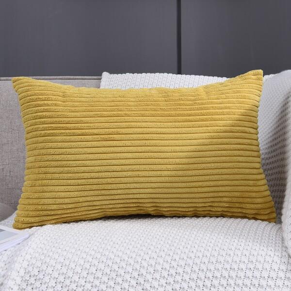 Plain Lumbar Pillow Cover Without Filler, Yellow