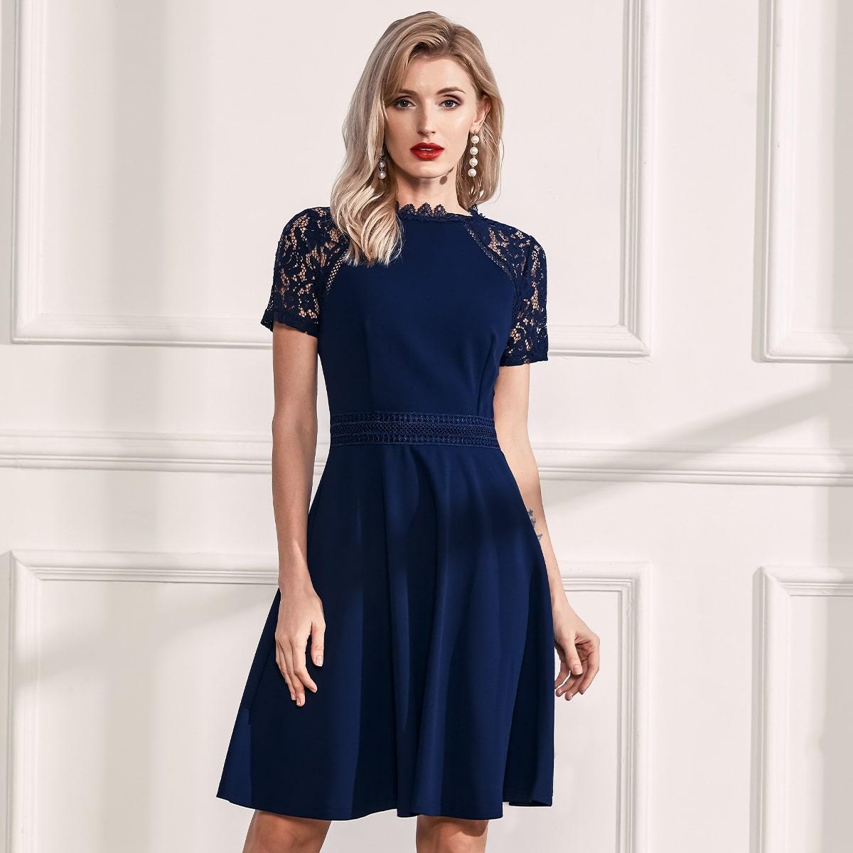 Lace Insert Raglan Sleeve Skater Dress