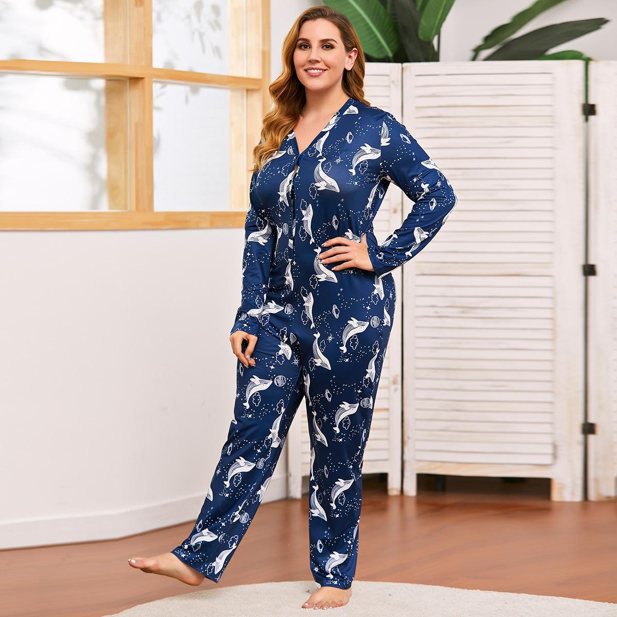 На пуговицах мультяшный принт милый пижамный комбинезон размера плюс