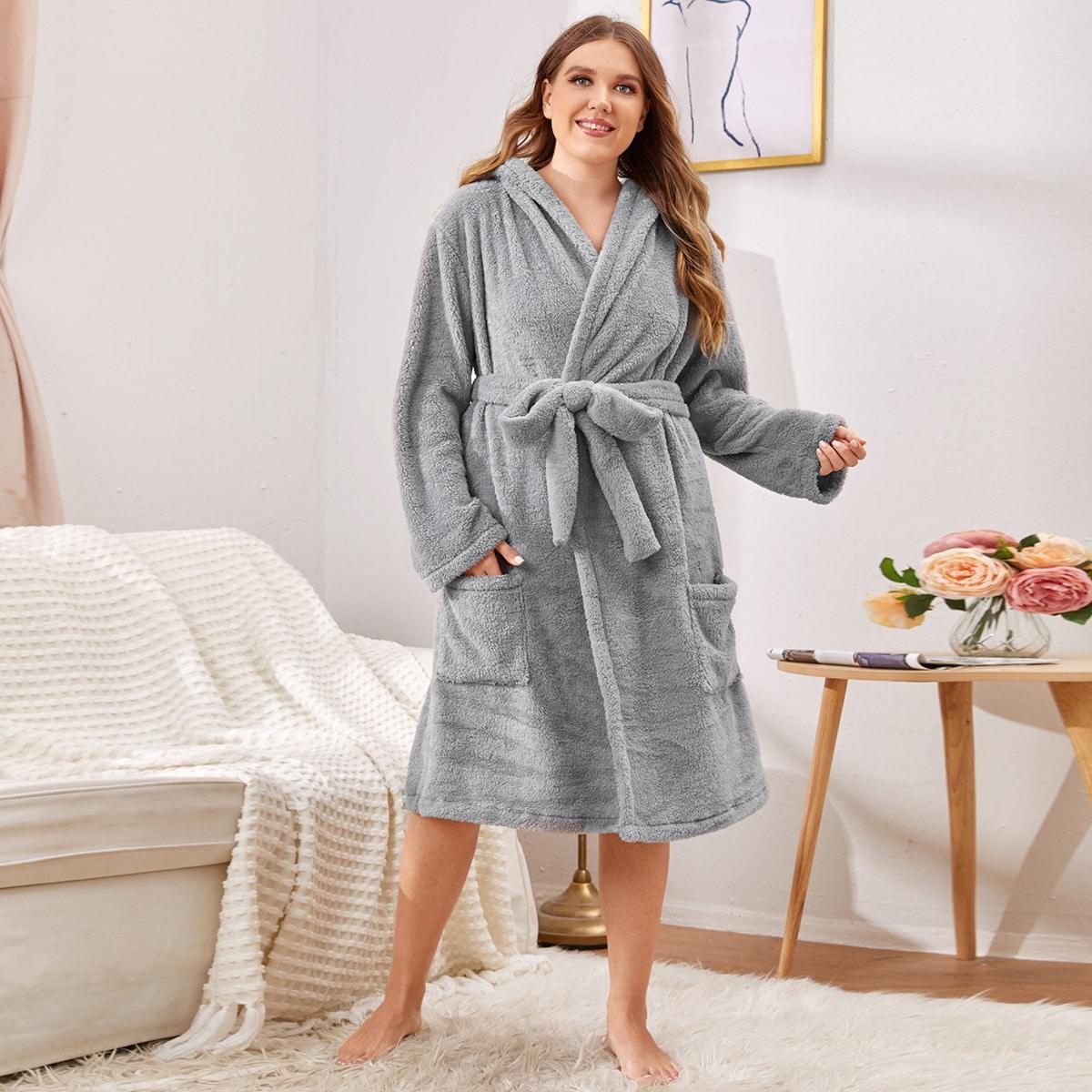С карманами одноцветный повседневный домашний халат размера плюс
