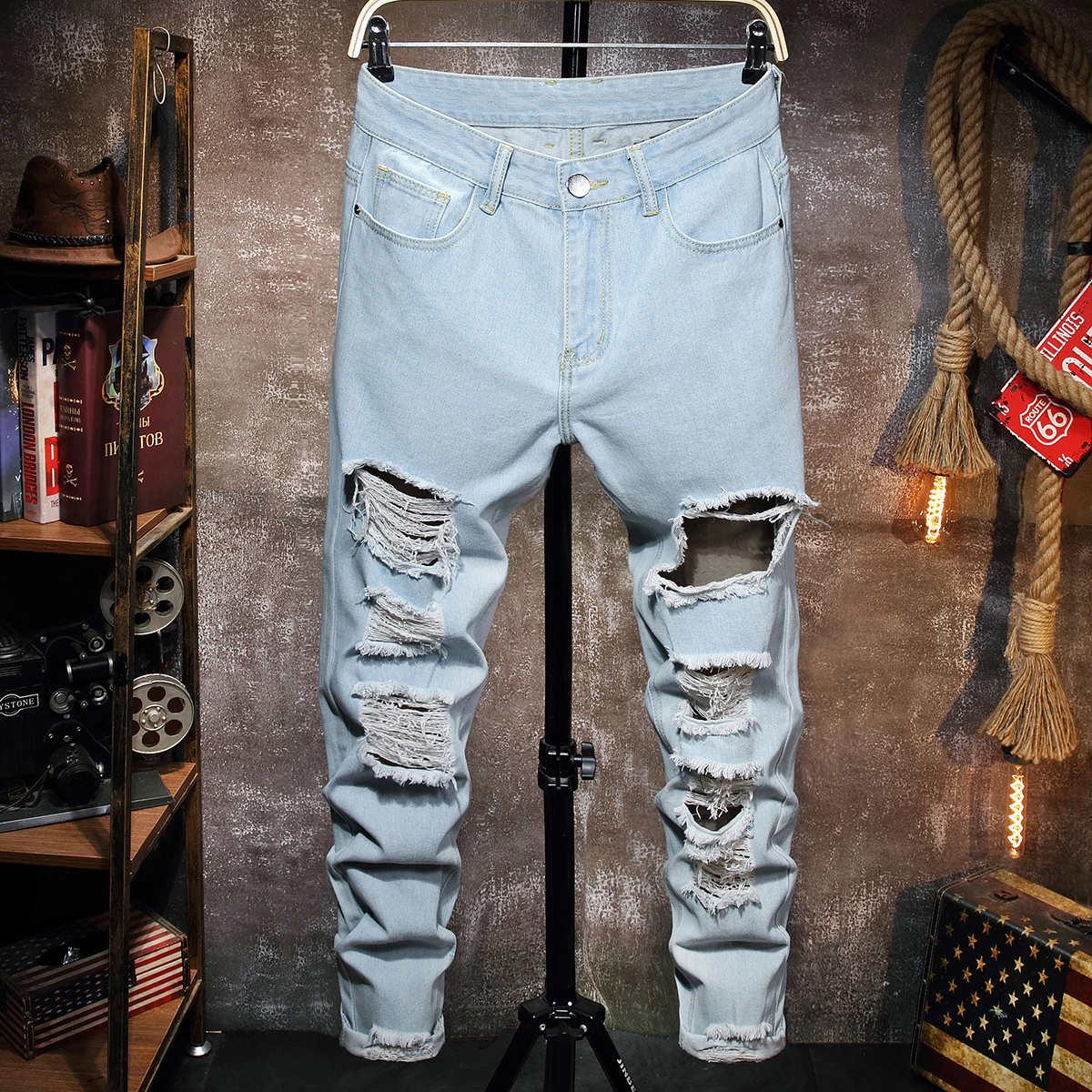 Разрезы Одноцветный Мужские джинсы