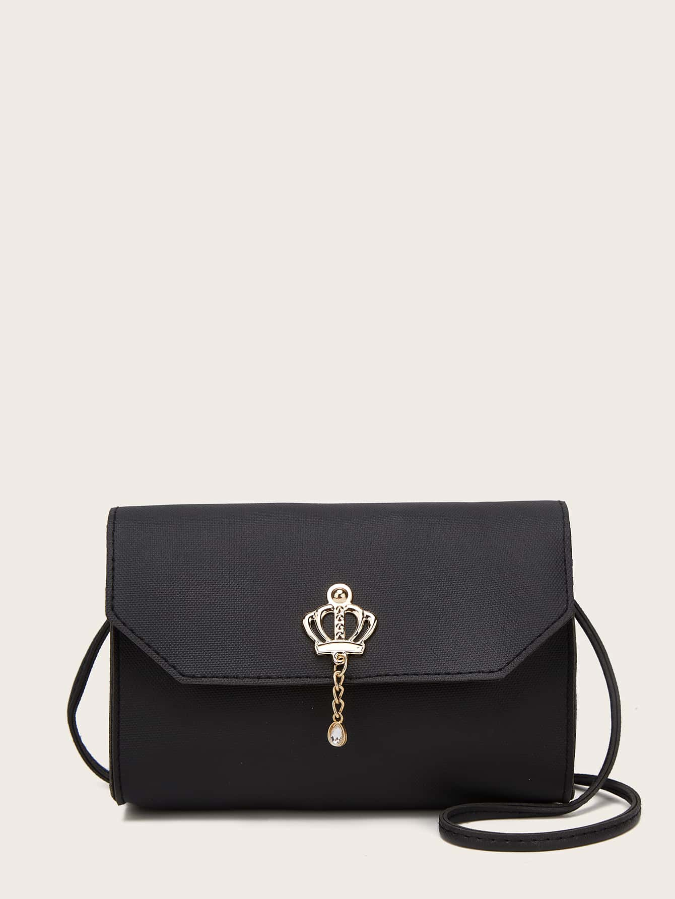 Metal Crown Decor Flap Crossbody Bag thumbnail