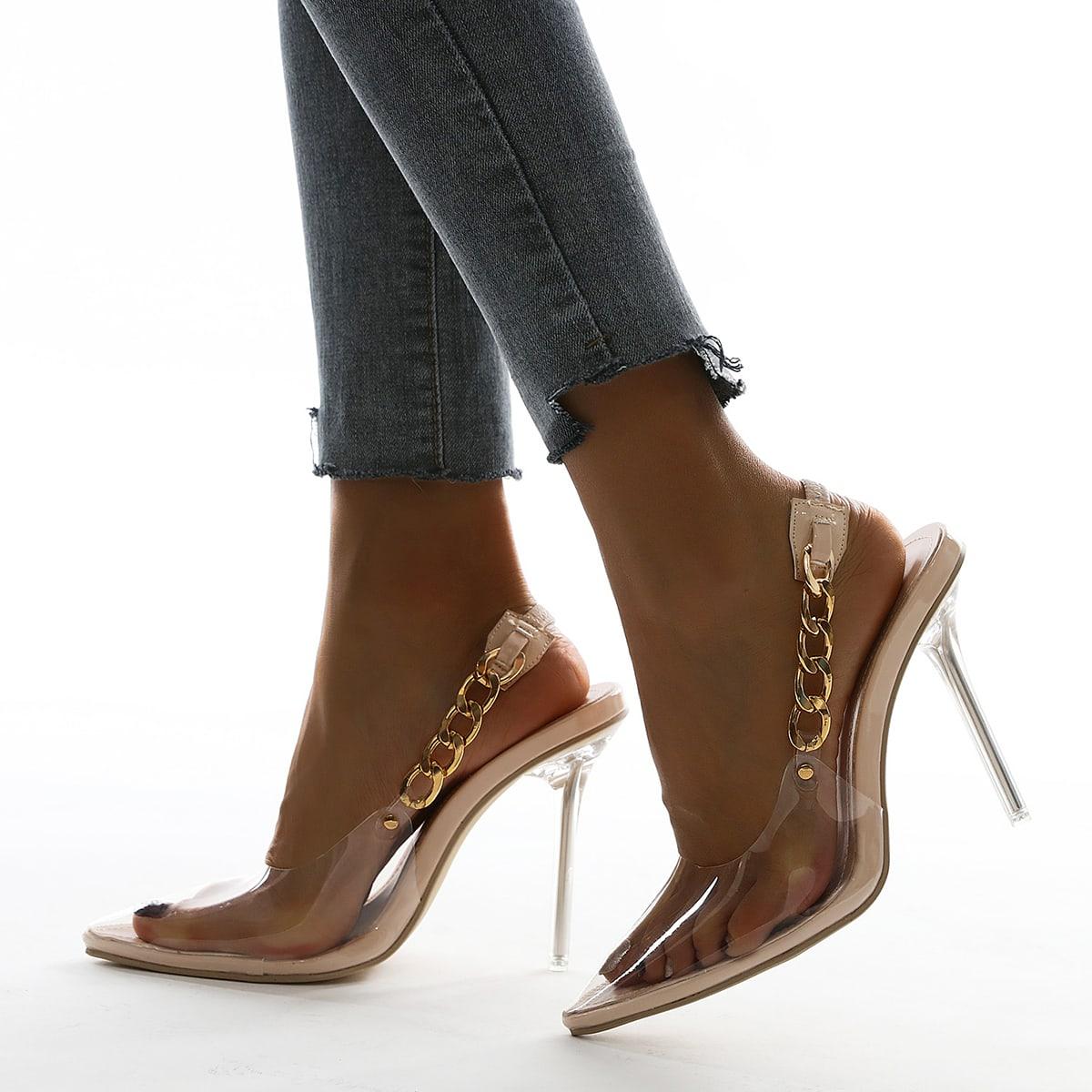 Прозрачные туфли на шпильках с цепочкой