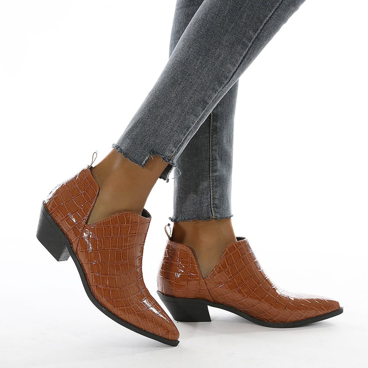 Туфли на массивном каблуке с крокодиловым узором