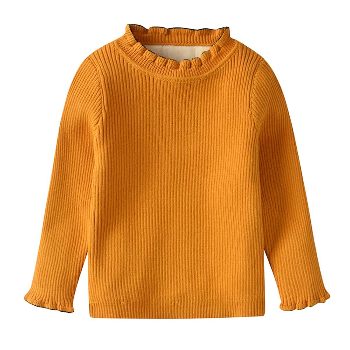 Оборка одноцветный милый свитеры  для малышей