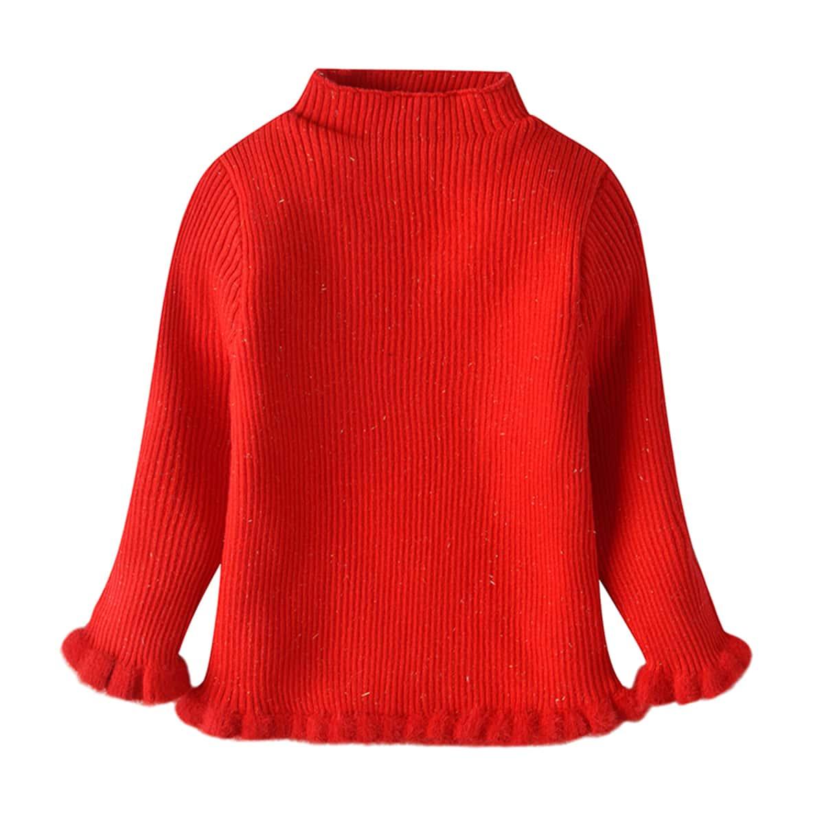 Оборка одноцветный повседневный свитеры  для малышей