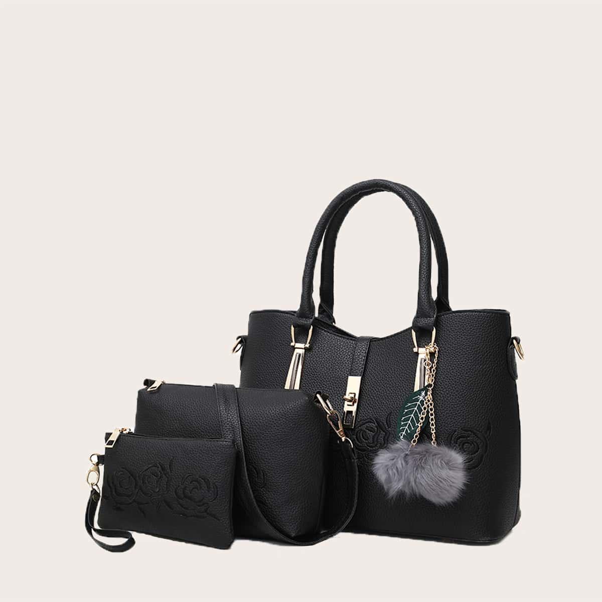 Регулируемый Помпон Со цветочками Модный Набор сумок