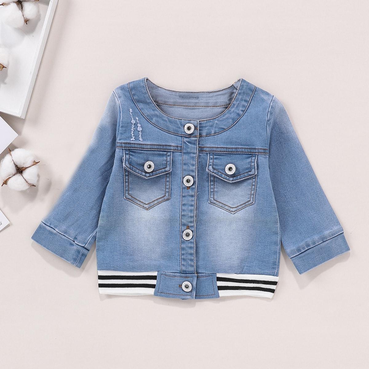 Полосатая джинсовая куртка с необработанными краями для девочек