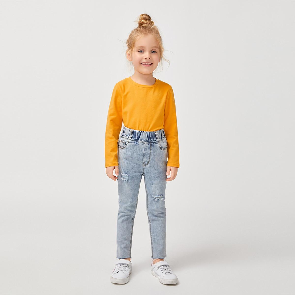 Одноцветный повседневный футболки для маленьких девочек