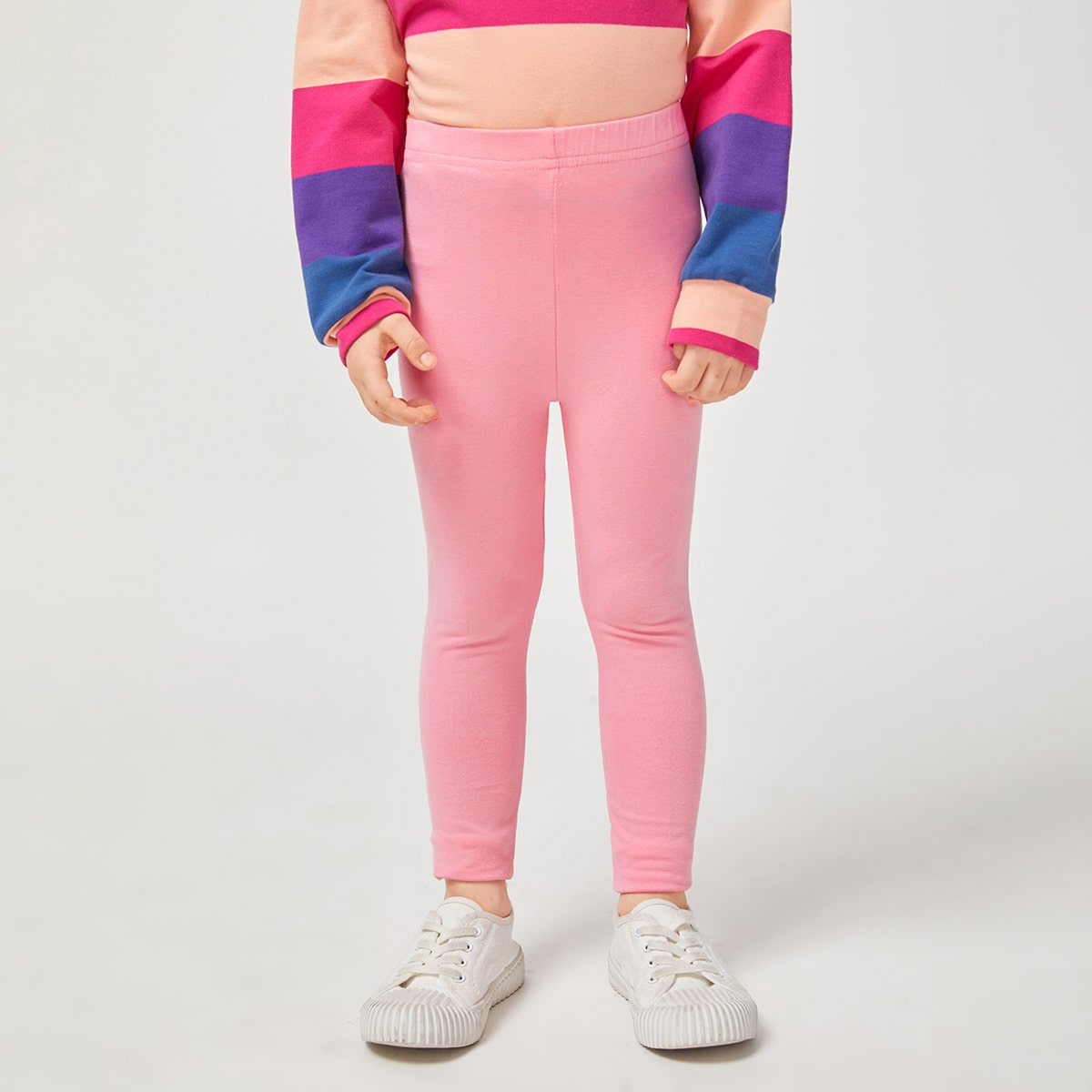Одноцветный Повседневный Леггинсы для девочек