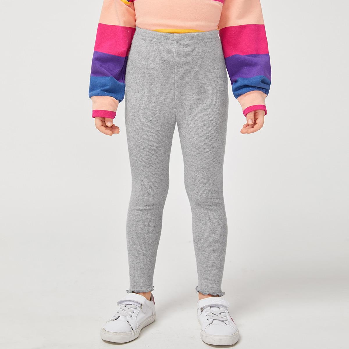 Трикотажный одноцветный повседневный леггинсы для девочек