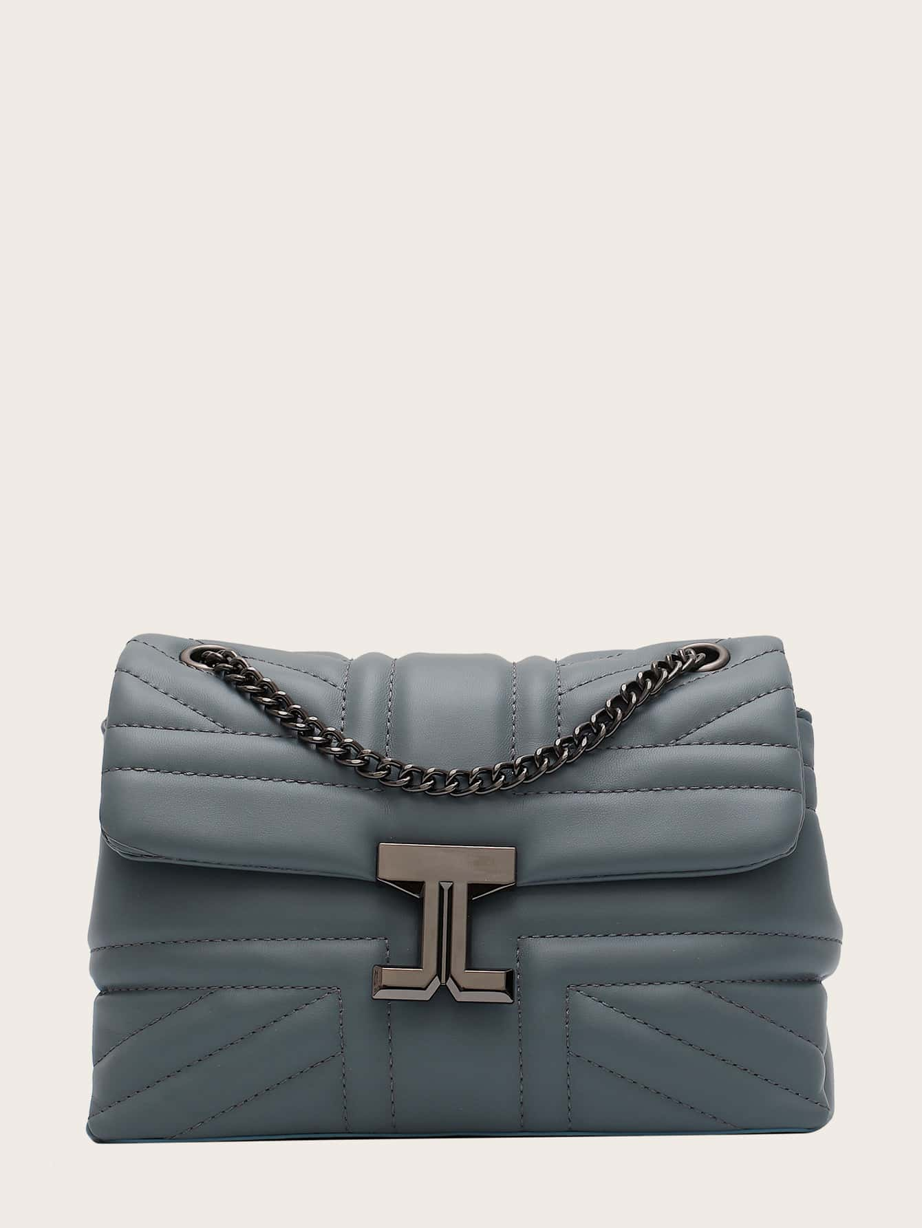 Metal Lock Quilted Chain Shoulder Bag thumbnail