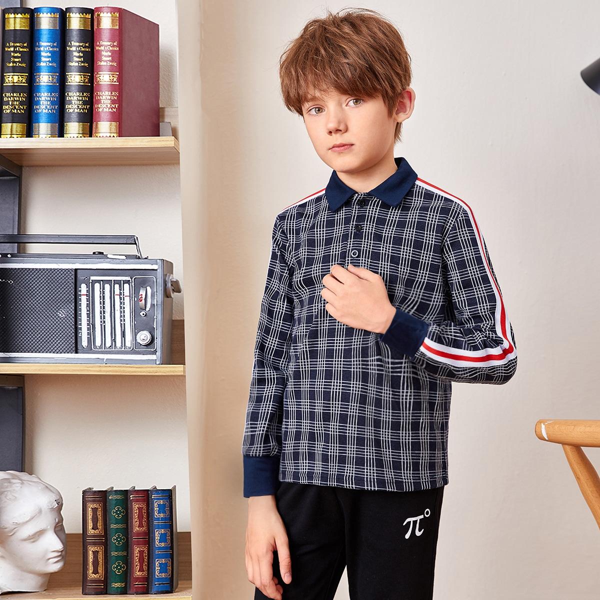 Лента клетчатый институтский рубашки поло для мальчиков
