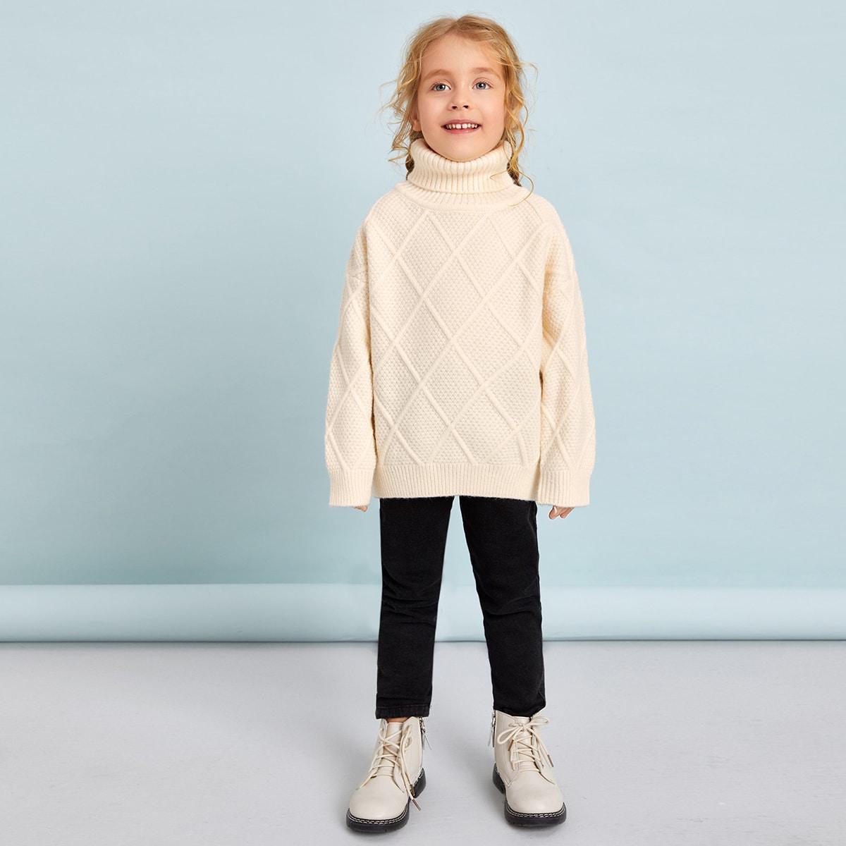 Одноцветный повседневный свитеры для девочек