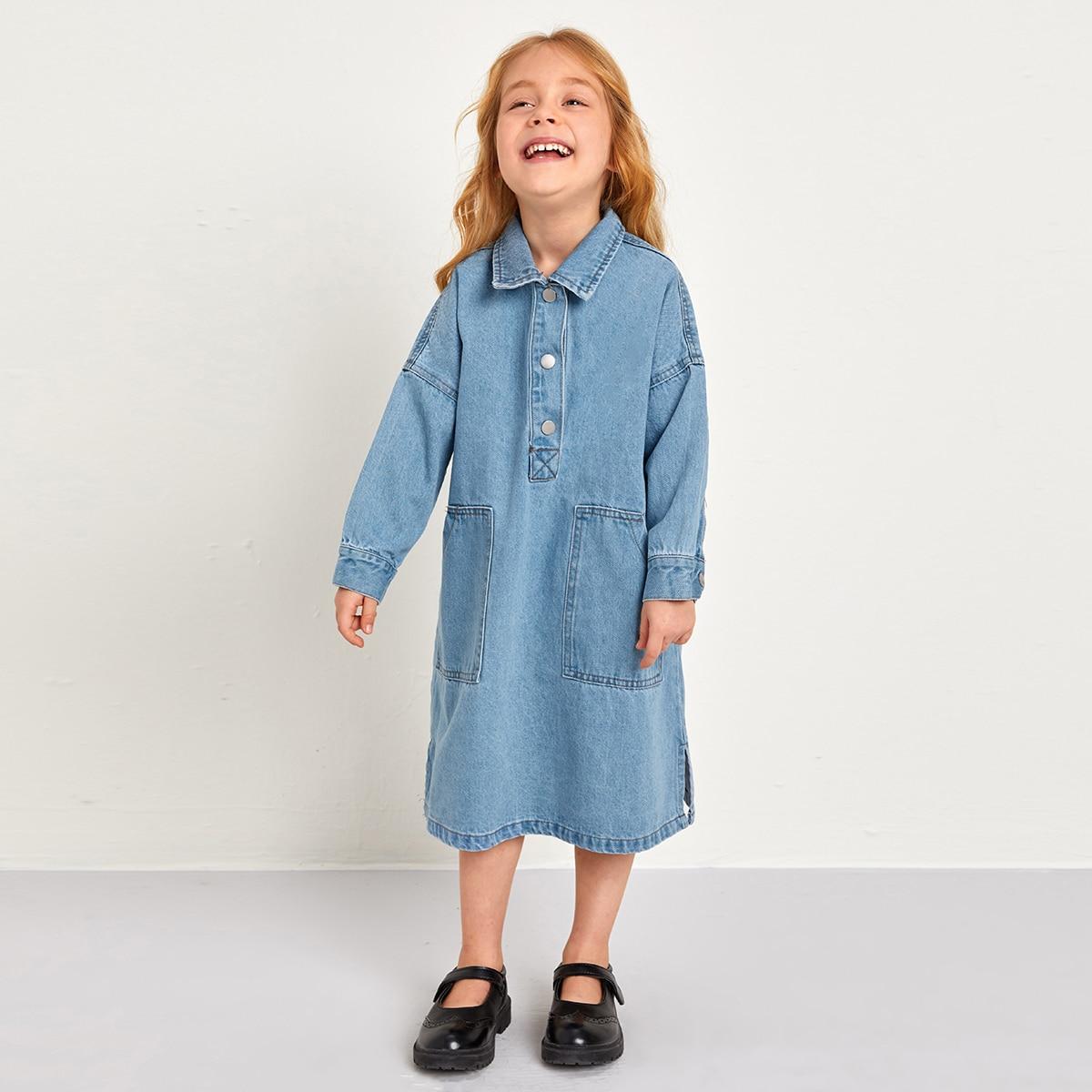 С карманами одноцветный повседневный джинсовые платья для девочек