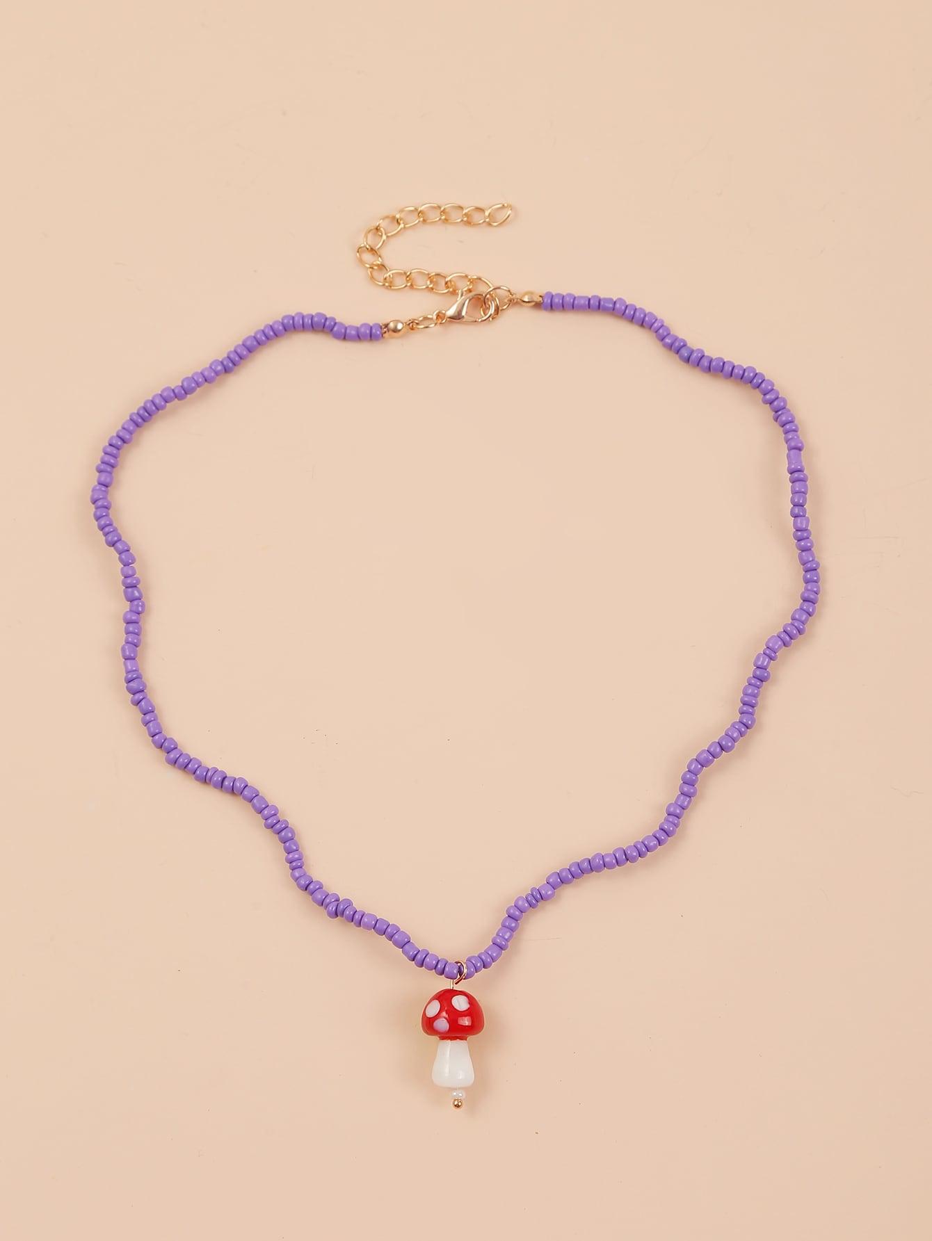 Mushroom Charm Beaded Necklace thumbnail