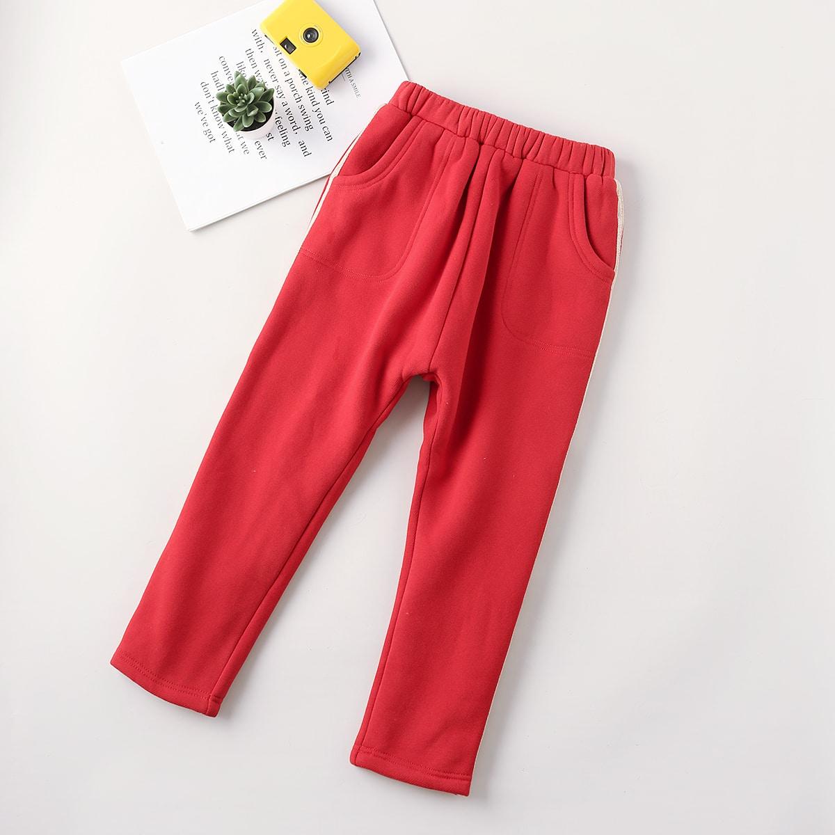 Карман полосатый спортивный брюки для маленьких девочек