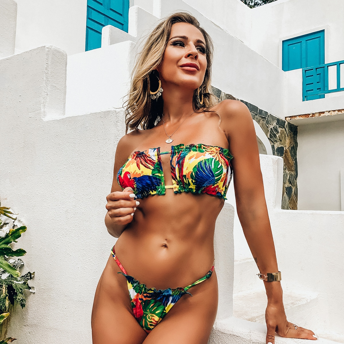 Tropical Frill Bandeau Thong Bikini Swimsuit