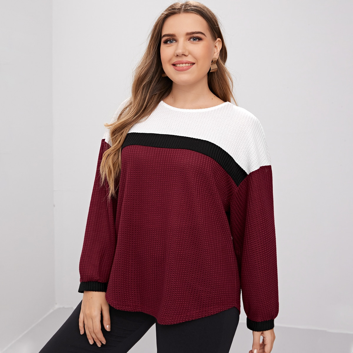 Plus Waffle Knit Color Block Tee